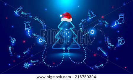 Christmas card in the style of new technologies, engineering, electronics. Christmas tree in red Santa Claus hat and surrounded by Christmas and new year symbols. Christmas sales and marketing