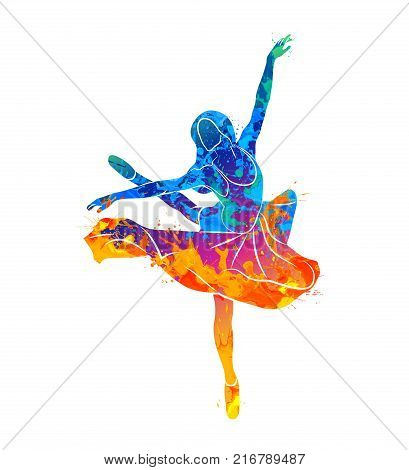 Abstract dancing girl from splash of watercolors. Photo illustration of paints.