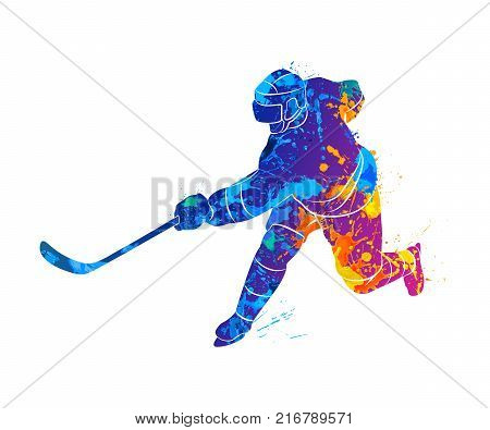 Abstract hockey player from a splash of watercolors. Photo illustration of paints.