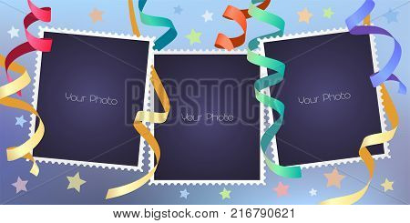 Collage of photo frames vector illustration. Design element of festive background and blank frames for scrapbook or photo album
