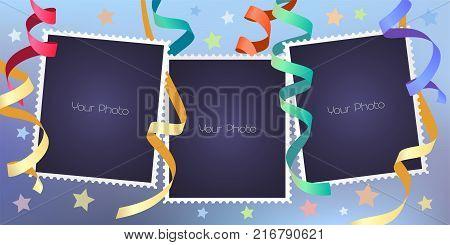 Collage of photo frames vector illustration. Design element of festive background and blank frames for scrapbook or photo album