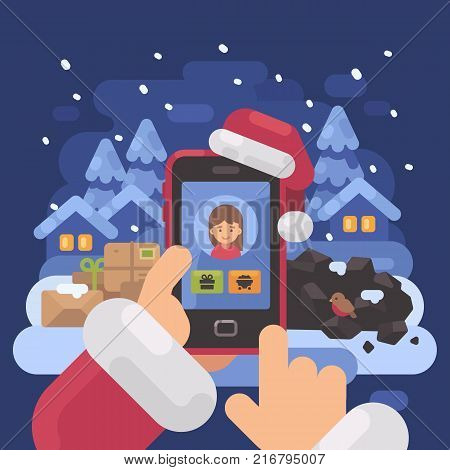 Santa Claus checking children profiles online deciding who is naughty and nice. Christmas flat illustration