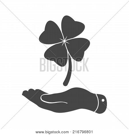 flat hand showing clover with four leaves sign icon on a white background. Saint Patrick symbol