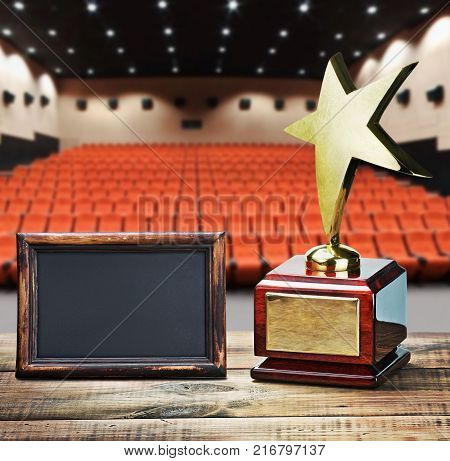 Star award for service to the background of the auditorium and the black board for the text