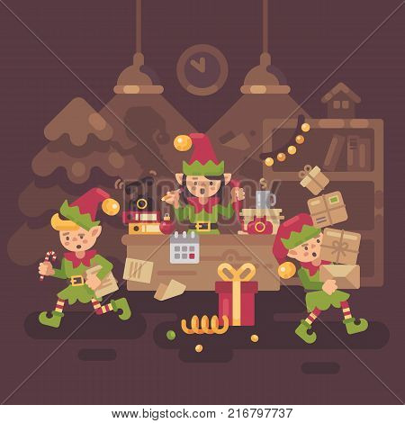 Busy Santa Claus office. Elf workers carrying presents and letters and answering the phone calls on Christmas Eve. Holiday flat illustration