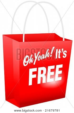 Retail giveaway Oh Yeah Its FREE red shopping bat for internet website or print