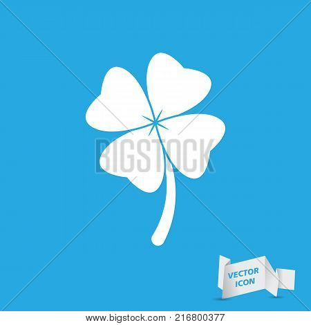 Clover with four leaves sign icon. Saint Patrick symbol