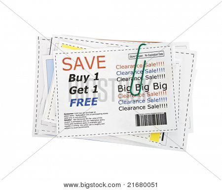Completely fake store coupons.  Fictional bar codes.  All coupons were created by the photographer.  No real ads were used.