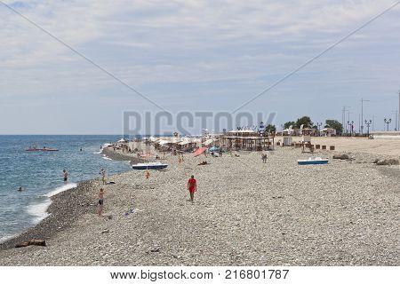 Adler, Krasnodar region, Russia - July 8, 2016: Beach