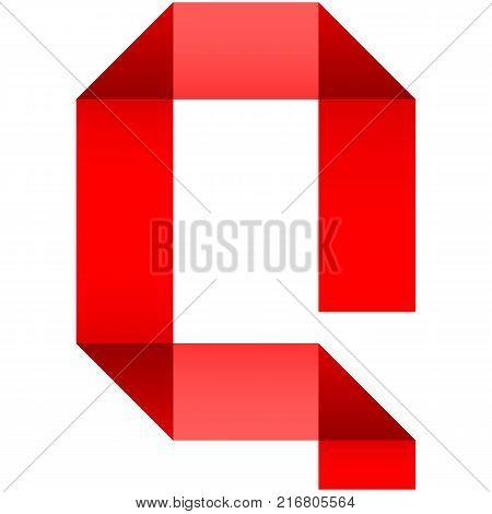 Alphabet of folded paper letter Q, vector illustration