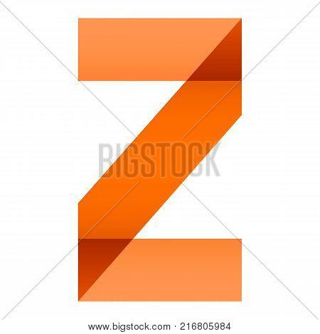 Alphabet of folded paper letter Z, vector illustration