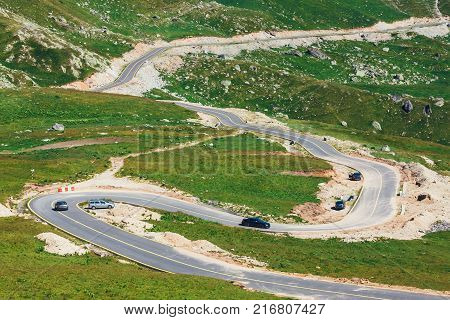 winding and dangerous road in Parang Mountains in Romania