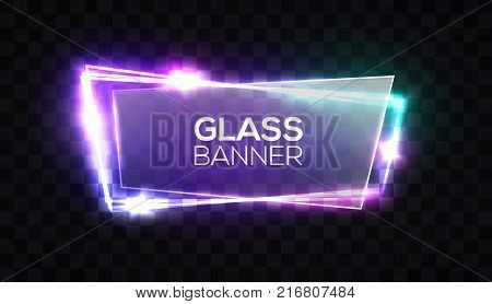Night club neon sign with textured transparent glass plate. 3d light signboard with shining neon effect. Techno frame with glowing on transparent backdrop. Electric banner Colorful vector illustration