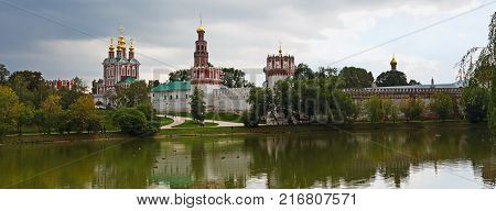 view of the Novodevichy Convent and monastery pond, Moscow, Russia