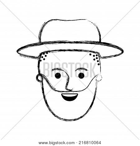 male face with hat and taper fade haircut and beard in monochrome blurred silhouette vector illustration