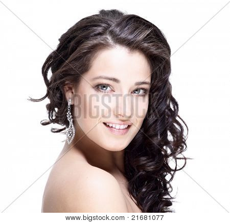 Beautiful face of young woman with clean skin