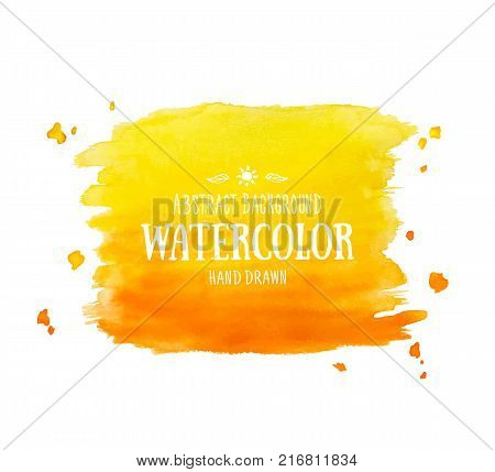 Orange abstract aquarelle background. Hand drawn watercolor stains, splashes and drops. Vector texture handmade