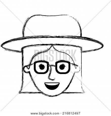 female face with hat and glasses with short straight hairstyle in monochrome blurred silhouette vector illustration