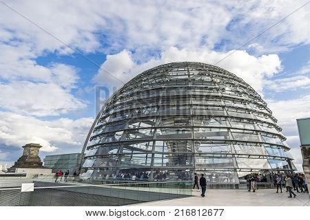 Glass Dome Of Reichstag (bundestag) Building In Berlin, Germany