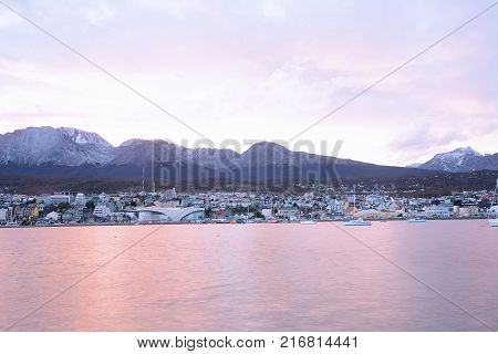View of the city of Ushuaia at the sunset. Tierra del Fuego Argentina.