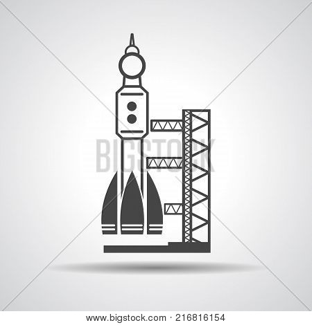 black launch site with rocket, spaceport icon, vector illustration
