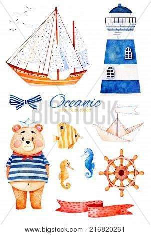Ocean creature with cute bear,lighthouse, reef fishe, seahorse, ribbon and bow,sailboat