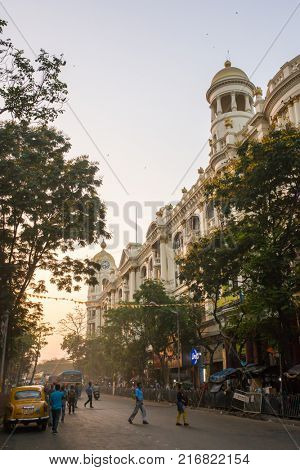 Kolkata, India - April 11, 2017: Beautiful morning in downtown of Kolkata, India. Cityscape with old colonial architecture