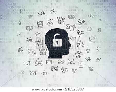 Finance concept: Painted black Head With Padlock icon on Digital Data Paper background with  Hand Drawn Business Icons
