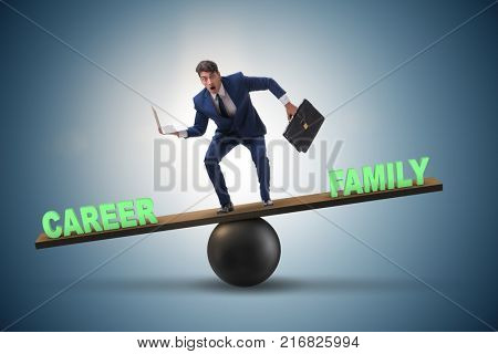 Businessman balancing between career and family in business conc