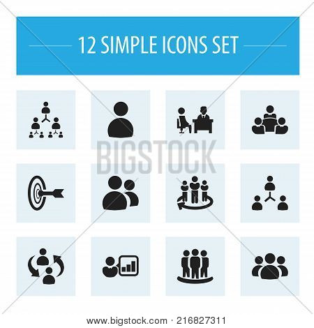 Set Of 12 Editable Cooperation Icons. Includes Symbols Such As Staff Structure, Introducing, Team And More