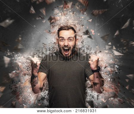 Angry man concept. Shattered elements exploding from his body. Rage, madness and energy concept - illustration.