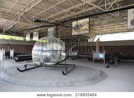 NORTH KOREA, PYONGYANG, SEPTEMBER 20, 2017: Museum of Victory. Exhibition of captured war equipment. USA helicopter, shot down by Korean armed forces, Victorious Fatherland Liberation War Museum, DPRK