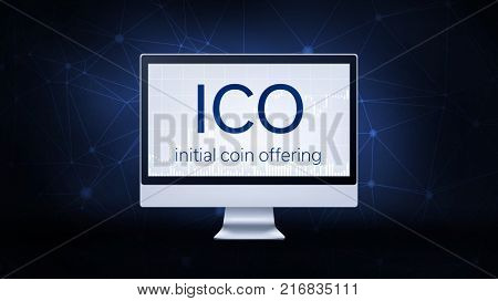 ICO initial coin offering on computer screen on futuristic hud background with blockchain peer to peer network. Global cryptocurrency ICO coin sale event - blockchain business banner concept.