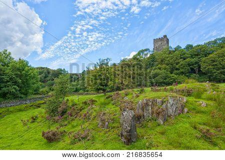 North Wales landscape with ruins of Dolwyddelan castle, Gwynedd, North Wales
