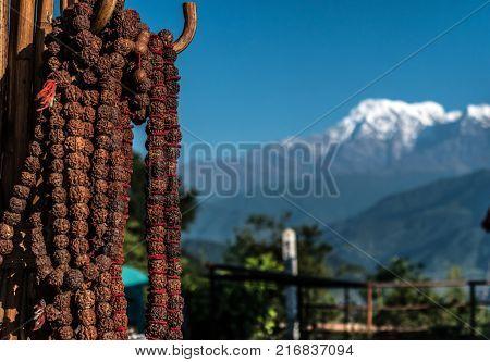 Nepalese prayer rosaries with red thread, Pokhara, Nepal
