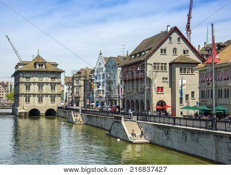 Bern Switzerland - 21 May 2017: View across River Aare with Untertor Bridge Bern Switzerland 21 May 2017