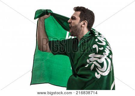 Saudi Arabia fan celebrating on white background