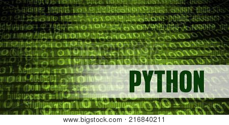 Python Coding Language with Green Binary Background
