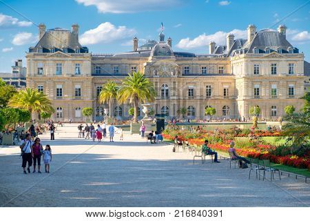 PARIS,FRANCE -AUGUST 1,2017 : The Luxembourg Palace and Gardens in Paris