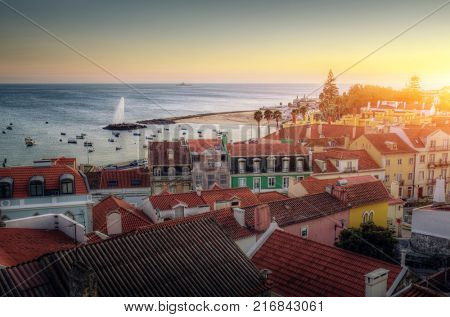 High view of the beautiful town od Paco d'Arcos in Portugal