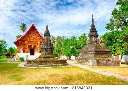 Beautiful view of stupa in Wat Visounnarath. Luang Prabang. Laos.