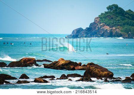 Wave breaking on the shore. Sri Lanka