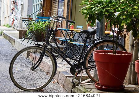 bike parked on the street