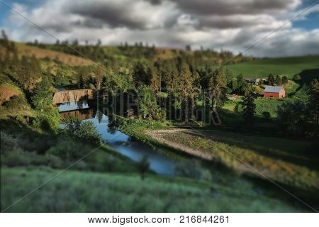 Old Train Bridge in Rural in Palouse Washington