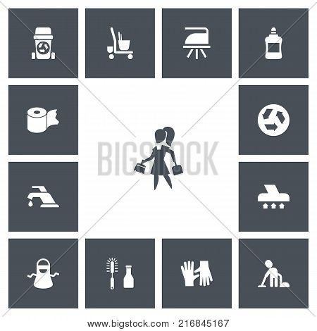 Set Of 13 Editable Cleanup Icons. Includes Symbols Such As Housework, Rubbish Container, Housekeeping Cart And More