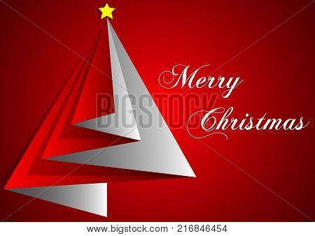 design of greetings card merry christmas with red triangles and red backgrounds