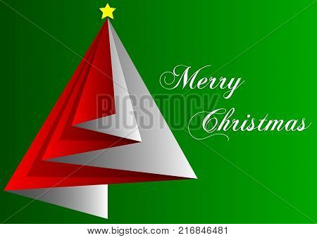 design of greetings card merry christmas with red triangles and green backgrounds