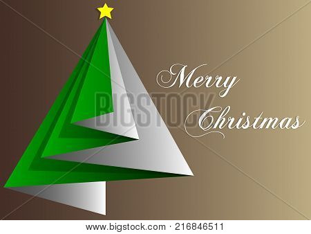 design of greetings card merry christmas with green triangles and brown backgrounds