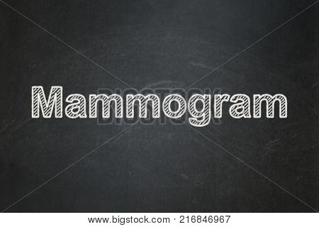 Health concept: text Mammogram on Black chalkboard background