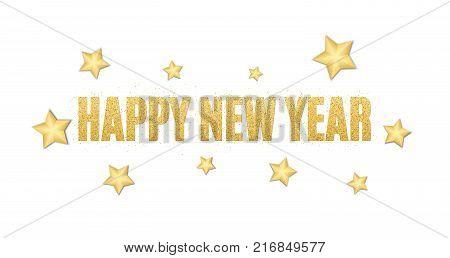 New Year text of golden glitters. Festive background for the flyer. Christmas golden stars. Golden glitter. Golden sand. Vector illustration